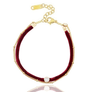 Armbänder Velvet mit Jasseron Port red-gold