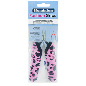 Beadalon Fashion Grips Tool Covers Cheetah Rosa-schwarz