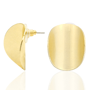 Trendy Ohrringe oval matt Gold (Nickelfrei)