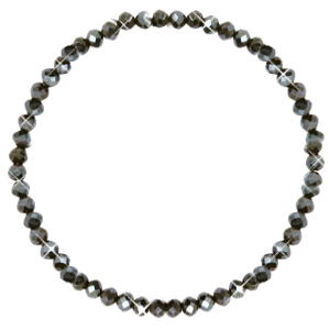 Facett Glas Armbänder 4x3mm Dark olive green-pearl shine coating