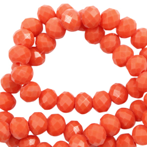 Top Glas Facett Perlen 3x2 mm rondellen Tangerine tango red-pearl shine coating