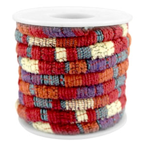 Trendy gesteppte Kordel 6x4mm Multicolor red-orange-purple