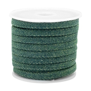 Trendy Kordel flach Denim 5mm Dark emerald green