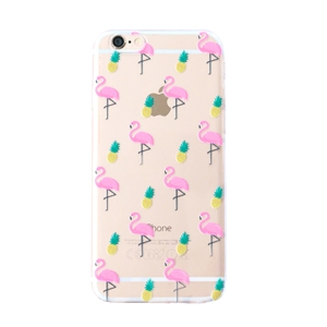 Telefon Hüllen für iPhone 6 Flamingo & Pineapple Transparent-yellow pink