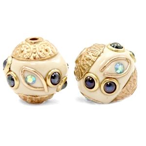 Bohemian Perlen 14mm Beige-dark blue gold